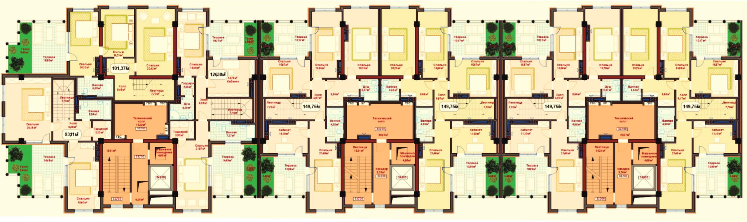 Общая планировка 11-го этажа