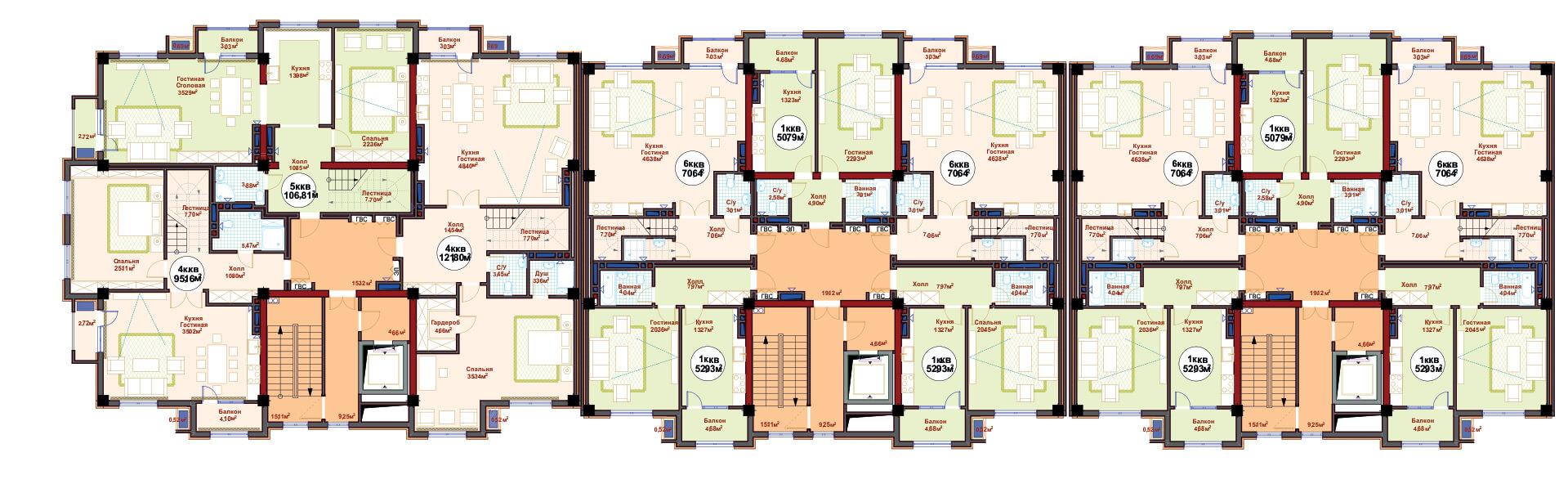 Общая планировка 10 этажа