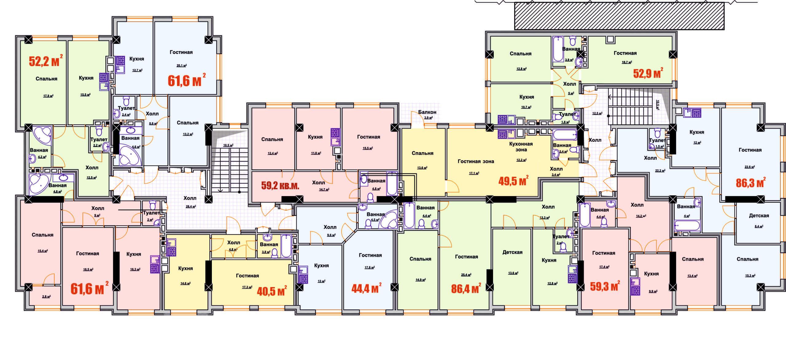 Общая планировка 2-го этажа