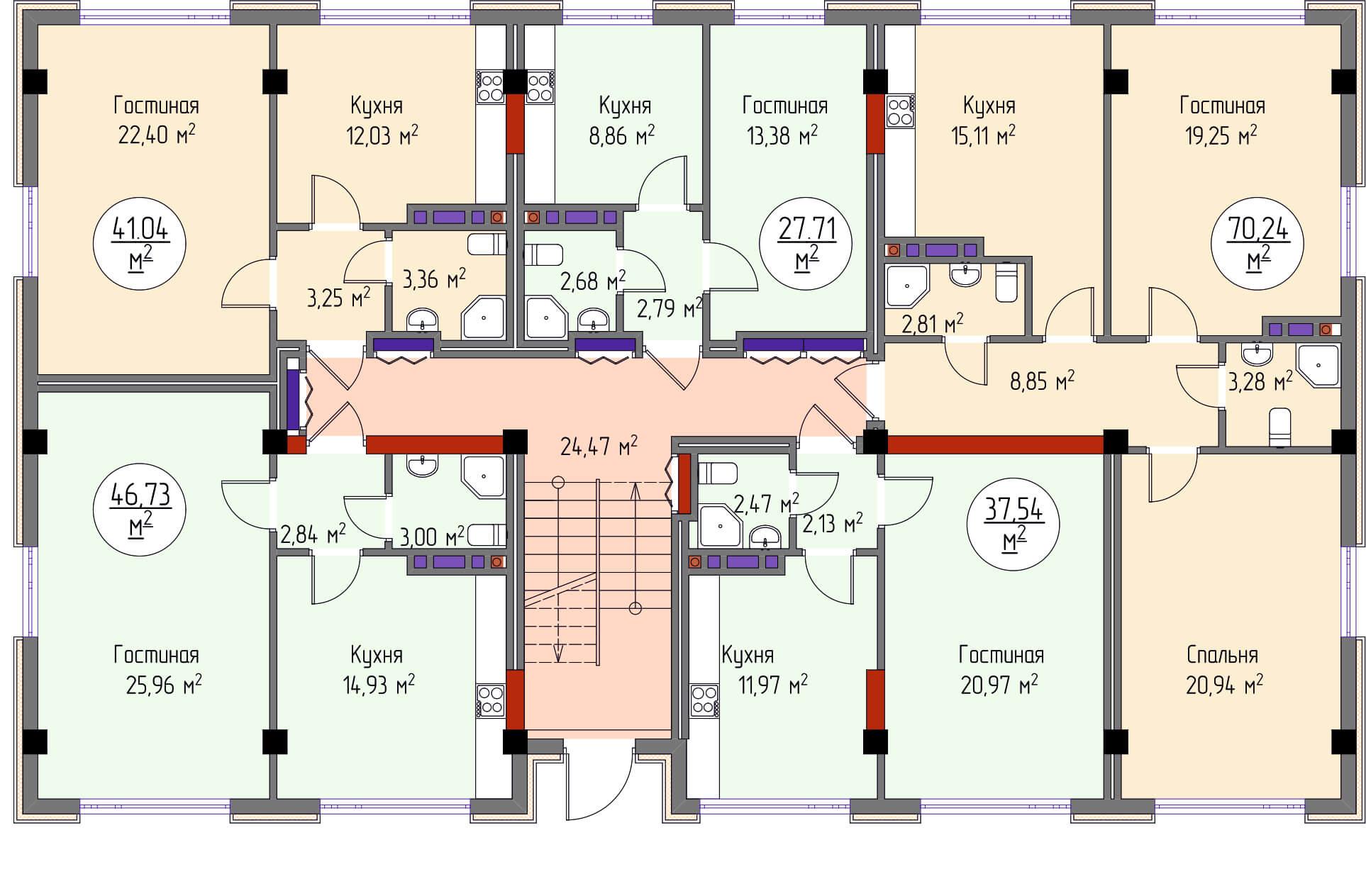 Общая планировка 3-го этажа